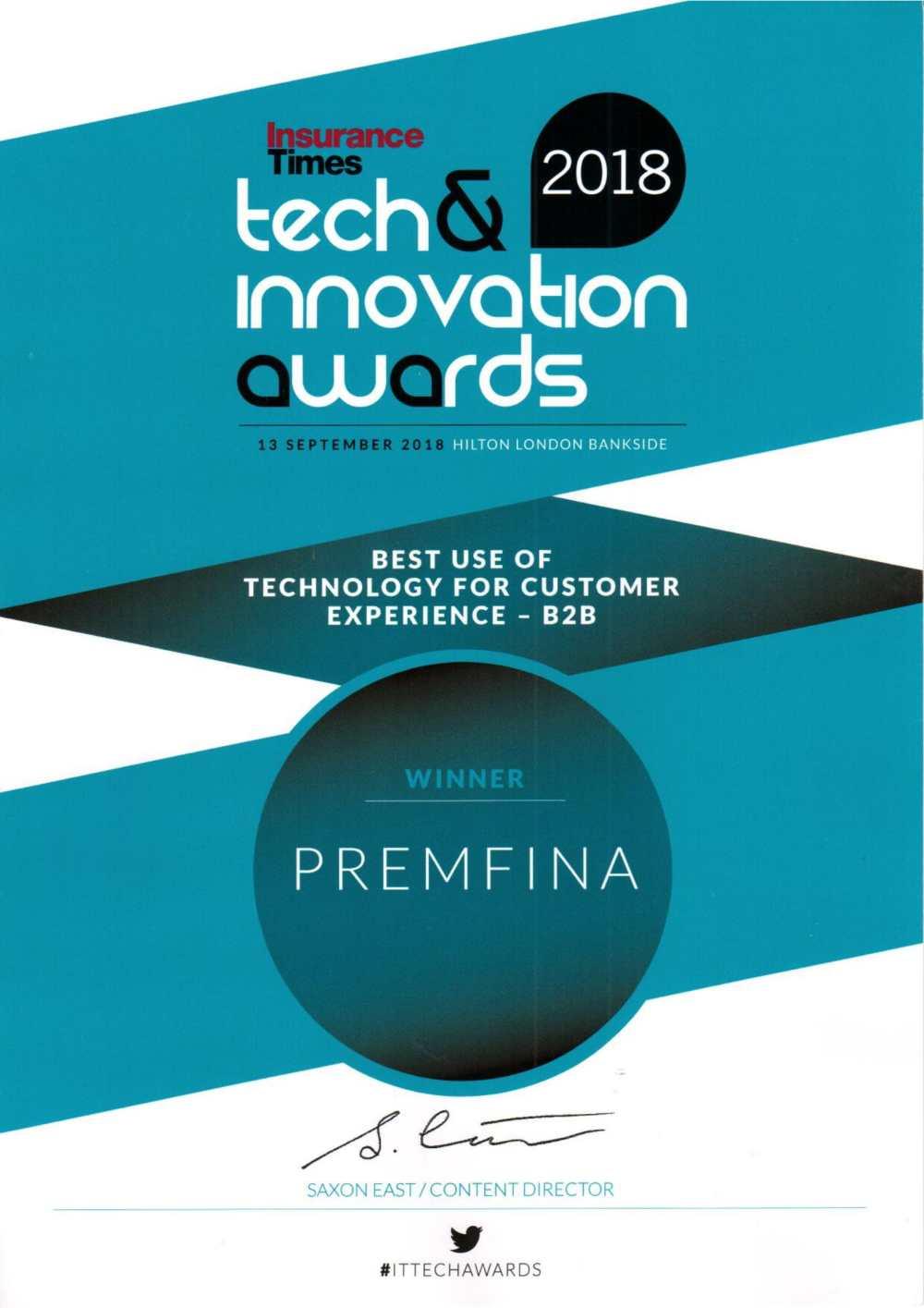 20180920 PremFina IT B2B Customer Experience Award-1